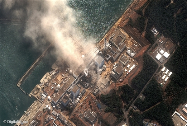 A satellite image shows damage at Fukushima I Nuclear Power Plant In Fukushima Prefecture.