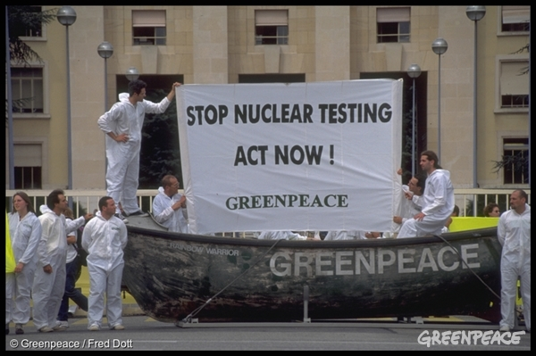 Greenpeace action to press nations into signing the Comprehensive Test Ban Treaty.