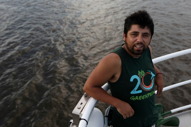 Andres Soto on Rainbow Warrior