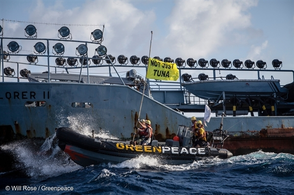 Greenpeace activists peacefully confront marine operations at the heart of Thai Union's supply chain in 2016. Activists in inflatable boats delivered a cease and desist letter to the deck of the Explorer II, a supply vessel using an underwater seamount to perch on and contribute to massive depletion of ocean life.