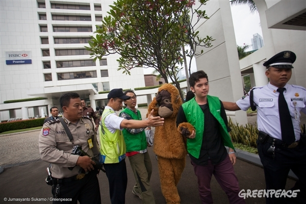 Securities escort Greenpeace activist wears orangutan costume during a protest at HSBC headquarter in Jakarta