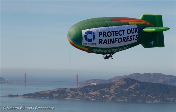The Greenpeace thermal airship A.E. Bates flies over the San Francisco Bay area near a facility where palm oil trader IOI imports its palm oil in the San Francisco Bay area.
