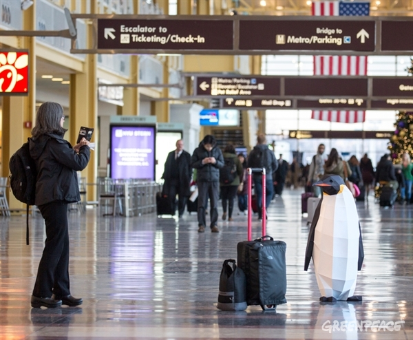 Posing for travellers at Washington National Airport in the United States.