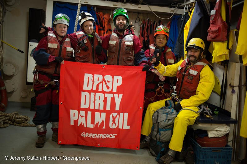 Atlantic Ocean, on 17 November 2018.  - Activists prepare to leave the MV Esperanza to begin their boarding action on a giant tanker ship carrying dirty palm oil from Indonesia to Europe in a peaceful protest against rainforest destruction.Trained Greenpeace climbers from Indonesia, Germany, the UK, France, Canada and the US, have safely scaled the side of Stolt Tenacity and aim to stay on board until it arrives at its final destination in Rotterdam.The 185-metre long cargo ship is loaded with palm oil from Wilmar, the largest and dirtiest palm oil trader in the world.