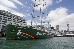 The new Rainbow Warrior at Princes Wharf in Auckland  for the first time