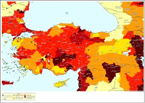 Baseline water stress overlaid with existing and proposed coal power plants in Turkey