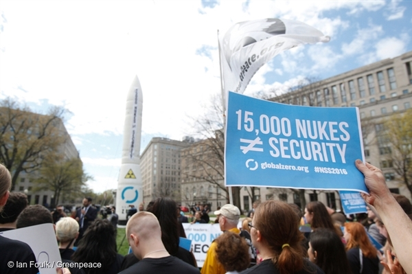 Nuclear Security Summit Protest in Washington D.C, April 2016.