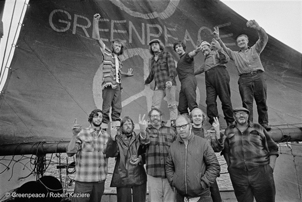 "The ""original"" Greenpeace crew on-board the Phyllis Cormack on their voyage to Amchitka Island"