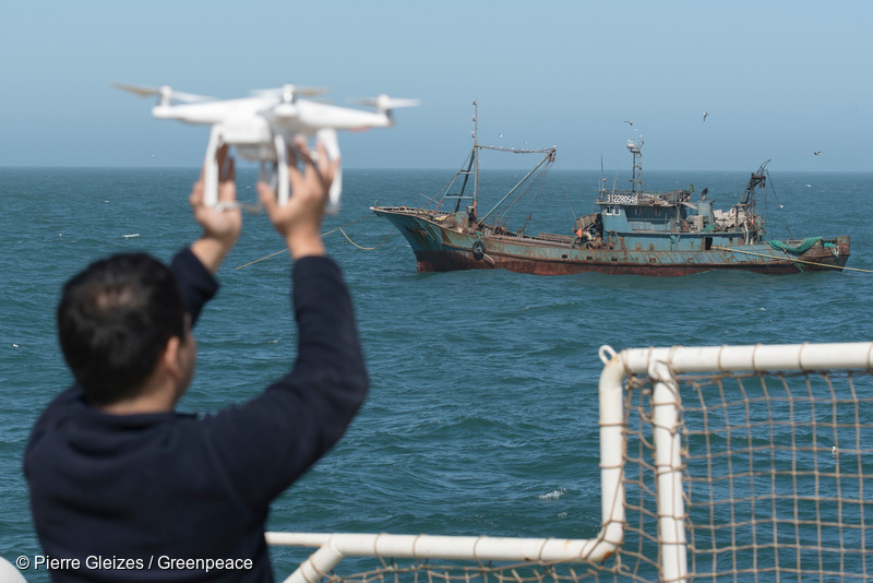 Flying a drone above Lu Rong Yu 1167, chinese fishing boat