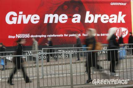 Give me a break says the banner near Nestle's Croydon office