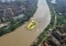 "Greenpeace activists unfurled a banner ""?"" at Citarum river, Bang"