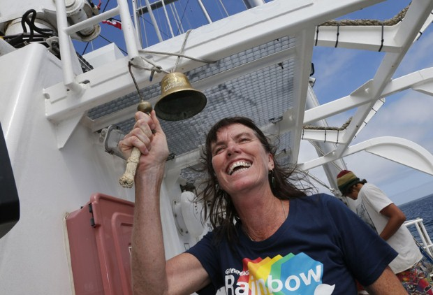 Greenpeace Executive Director Bunny McDiarmid rings the bell onboard the new Rainbow Warrio