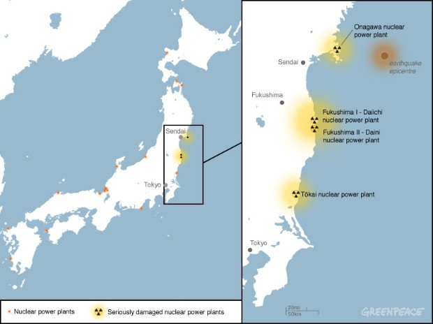 Location of the Fukushima nuclear disaster