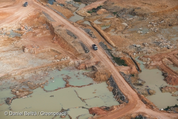 Aerial view of the Belo Monte Dam construction site. Belo Monte is a controversial hydropower plant on the Xingu River.18 Sep, 2013 © Daniel Beltrá / Greenpeace