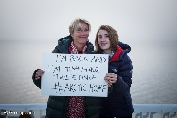 Actor, writer and activist, Emma Thompson and Emma's daughter, Gaia Romilly Wise on the Arctic Sunrise. 15 Aug, 2016  © Greenpeace