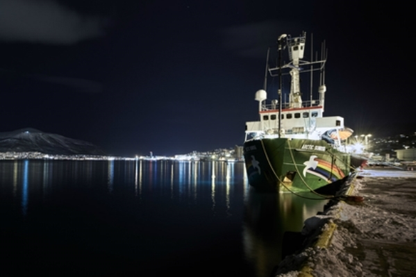 Greenpeace ship Arctic Sunrise leaves the harbour of Tromsø headed for the oil fields off the Norwegian coast.