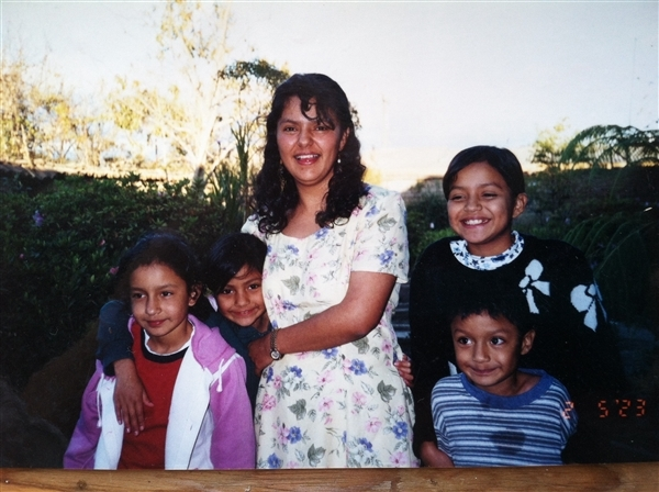 Berta with her four children.