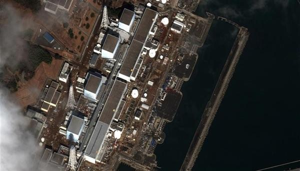 Satellite image showing damage at Fukushima 1 Dai-Ichi nuclear power plant