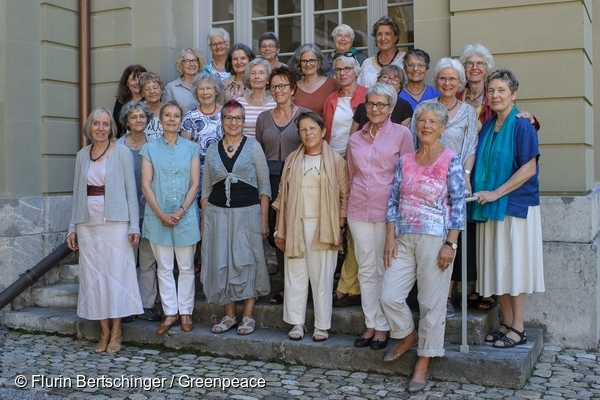 Group portrait of KlimaSeniorinnen (Senior Women for Climate Protection) 23/08/2016 © Flurin Bertschinger / Greenpeace