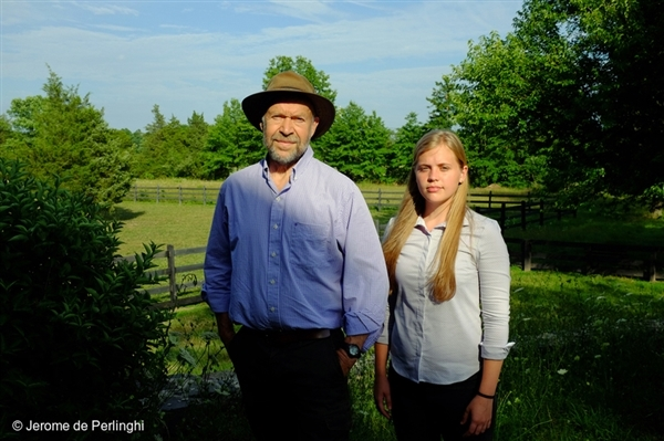 James Hansen with his grand daughter Sophie Kivlehan. An American activist, Climate Scientist and professor in the Department of Earth and Environmental Sciences at Columbia University, Hanson is best known for his research in climatology, his 1988 Congressional testimony on climate change that helped raise broad awareness of global warming, and his advocacy of action to avoid dangerous climate change. 15 Jul, 2016 © Jerome de Perlinghi