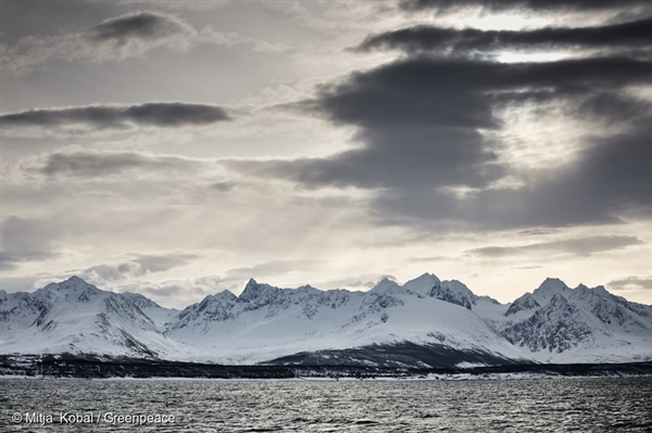 A view from the deck of the Arctic Sunrise as it set sail from Tromsø, Norway to confront Arctic oil drillers.