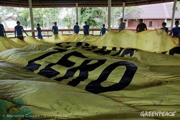 """Students and teachers of Forest School in Bailique Archipelago gather around a large """"Desmatamento Zero (Zero Deforestation)"""" banner addressed to Brazilian President Dilma and signed by the local community."""