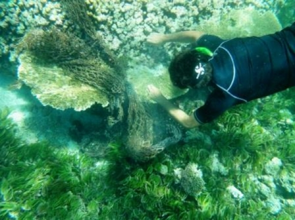 A scientist removes entangled FAD netting from a damaged coral reef. Photo: Island Conservation Society (ICS)