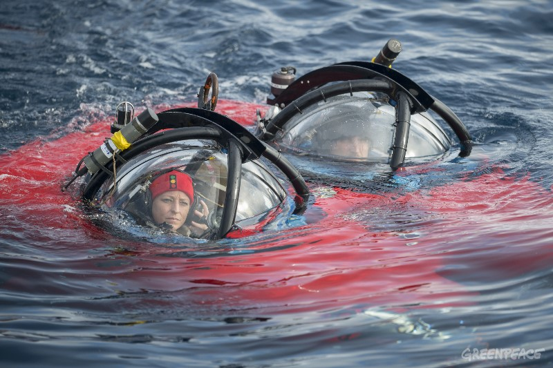 Dr. Susanne Lockhart, Antarctic biologist, and submarine pilot John Hocevar, Director of Oceans for Greenpeace USA sitting in a two person submarine. Greenpeace is conducting submarine-based scientific research to strengthen the proposal to create the largest protected area on the planet, an Antarctic Ocean Sanctuary.