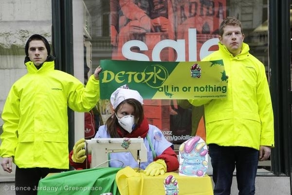 Detox Protest Outside Adidas Store in Hungary