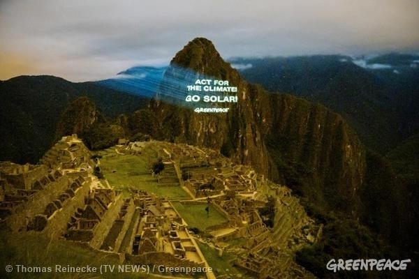 Projection on Machu Picchu Ahead of UN Climate Summit © Thomas Reinecke (TV NEWS) / Greenpeace
