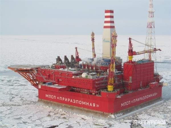 Gazprom oil platform Prirazlomnaya in icy conditions.