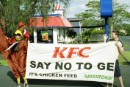 Greenpeace activists outside the KFC store in Whangarei