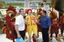 Greenpeace activist dressed as Ronald McDonald