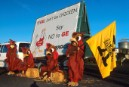 Greenpeace activists blocking the entrance of the Tegel distribution centre