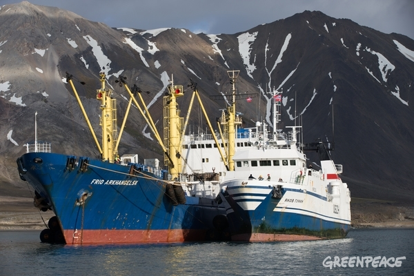Russian Fishing Trawler and Reefer in Svalbard. 28 Jul, 2014 © Nick Cobbing / Greenpeace