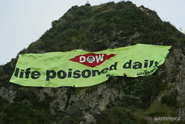 Greenpeace NZ protested outside the DOW plant in New Plymouth