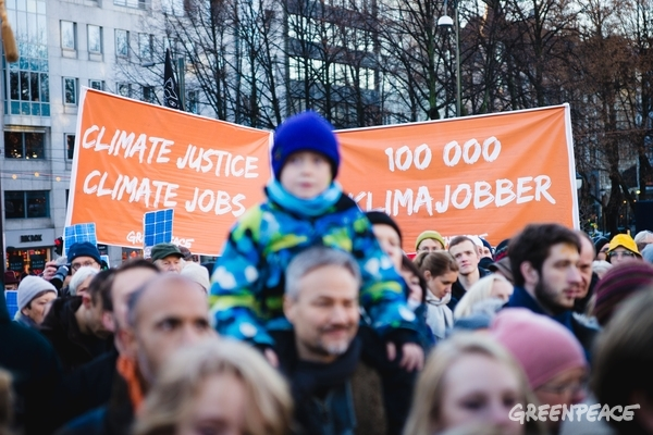 COP21: Climate March in Oslo, 28 Nov, 2015. © Monica Løvdahl / Greenpeace