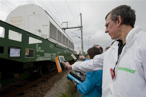Train Carrying Nuclear Waste en route From France to Germany.