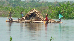 Log raft of real artisanal loggers on Mfini river near Nioki