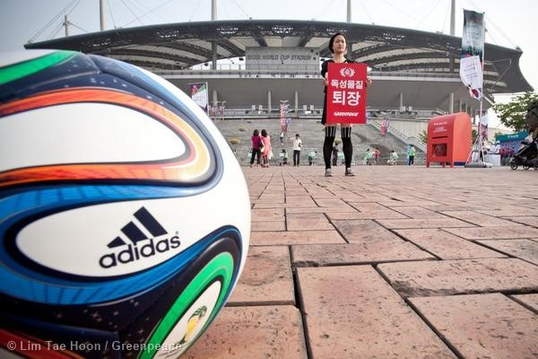 Activists take to the Seoul World Cup Stadium to show adidas the Red Card.