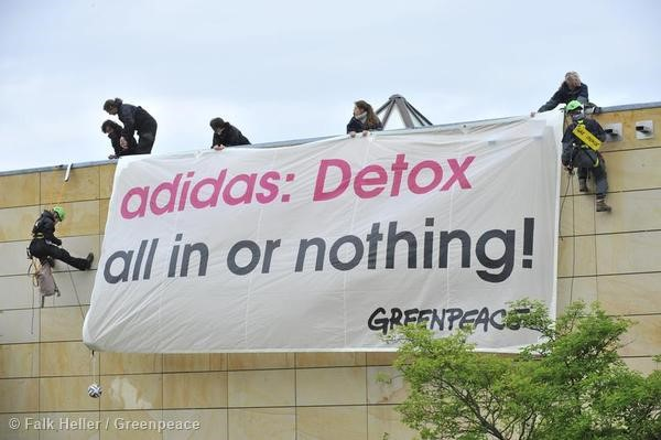 Protest at the adidas AGM in Germany.