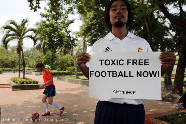 Protest in the Philippines calling on adidas to keep the game beautiful.
