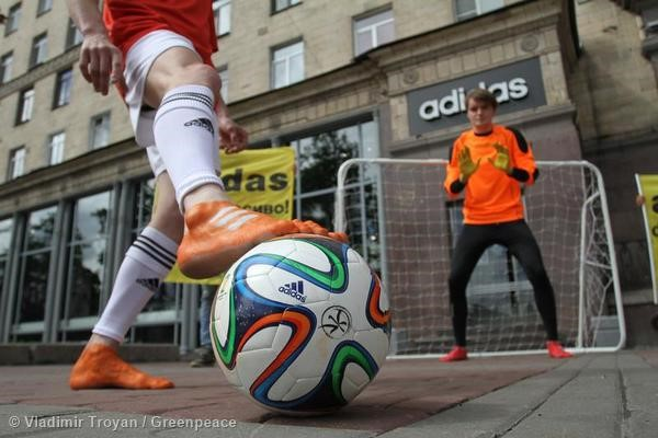 Activists in St. Petersburg call on adidas to kick chemicals out of the game.