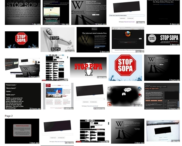 SOPA blackout pages