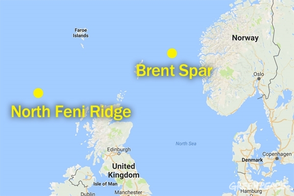 Position of the Brent Spare and Feni Ridge.