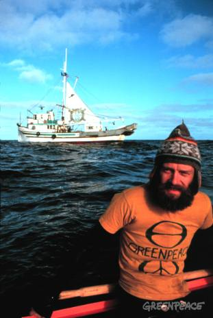 Bob Hunter aboard the Phyllis Cormack in the North Pacific in a campaign against whaling.(1975/76)