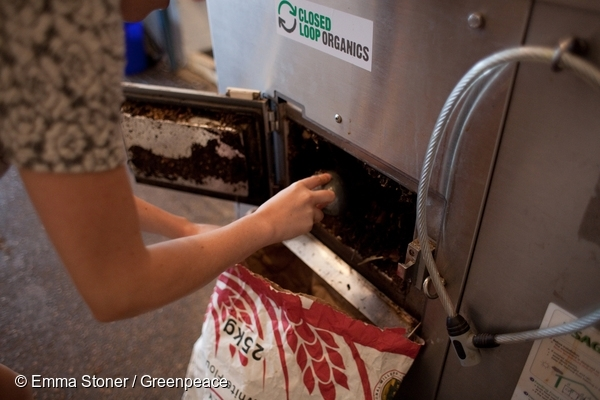 Composter at Silo Cafe in Brighton. 26 Apr, 2015 © Emma Stoner / Greenpeace