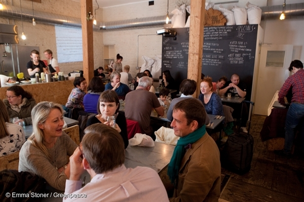 Local Population in Silo Cafe in Brighton. 26 Apr, 2015 © Emma Stoner / Greenpeace