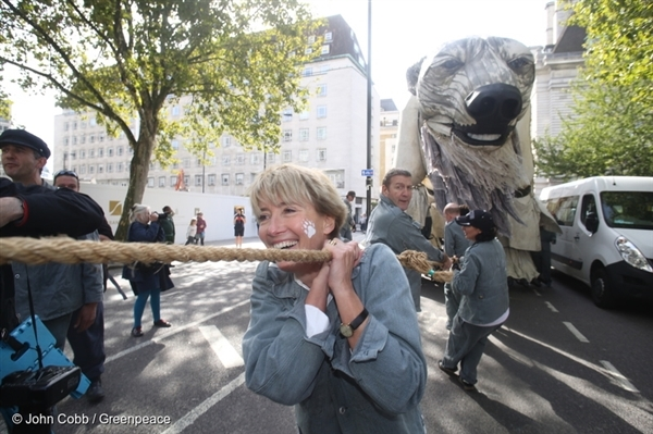 Actor Emma Thompson and Greenpeace activists with Aurora, the polar bear. In September, Shell quit drilling in the Arctic.