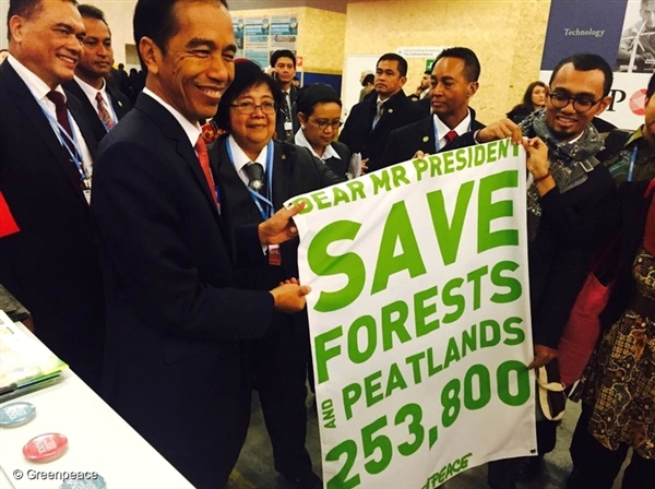 At the COP21 climate talks in Paris we handed over a petition signed by 253,800 people around the world to halt forest and peatland destruction. Thank you!